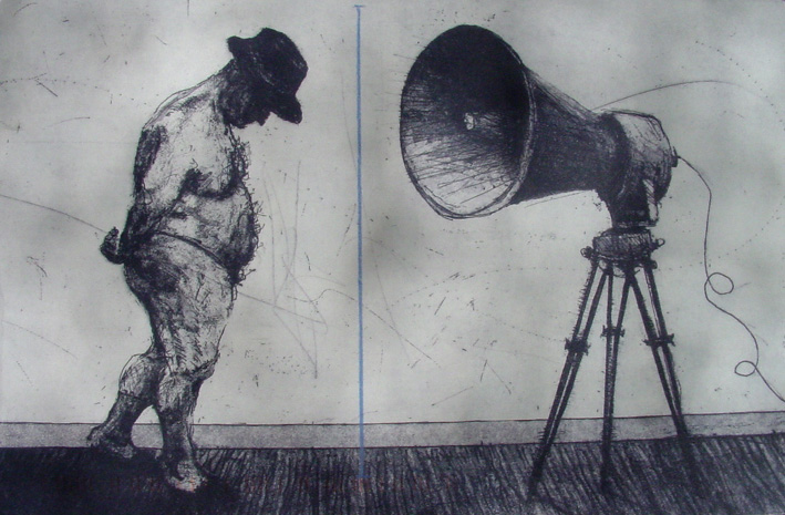 Kentridge-Man-with-Megaphone-1998-Etching-and-Aquatint-LR