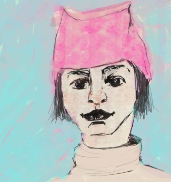 portrait woman in pink hat